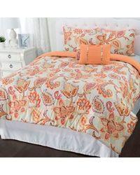 "Cozelle 5-Pc ""Amelia"" Paisley Printed Comforter Set -Tangerine -Size: King"