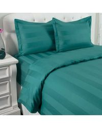 North Shore Linens 500tc 100% Cotton Damask Suresoft 3 Piece Duvet Set Teal Full/queen