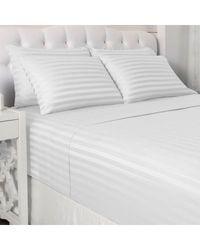 "North Shore Living 600tc Cotton/poly Blend 1"" Damask Stripe 6 Piece Sheet Set White King"