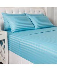 "North Shore Living 600tc Cotton/poly Blend 1"" Damask Stripe 6 Piece Sheet Set Blue King"