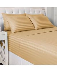 "North Shore Living 600tc Cotton/poly Blend 1"" Damask Stripe 6 Piece Sheet Set Mocha California King"