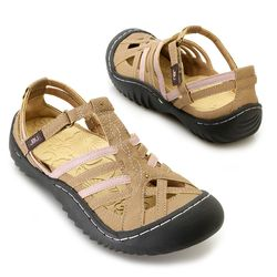"Jbu By Jambu ""anza"" Memory Foam Color Blocked Comfort Sandal Oatmeal 9"