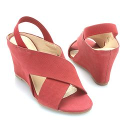 """Matisse """"harlow"""" Perforated Nubuck Leather Crossover Strap Wedge Sandal Red 7.5"""
