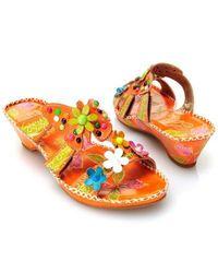 Corkys Elite Rosie Multi Flower Thong Sandals Orange 6