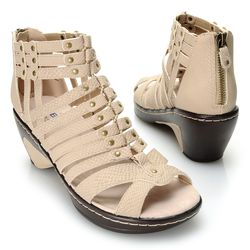 JBU by Jambu Women's Jean Snake Gladiator Wedge Sandal - Tan - Size: 8.5