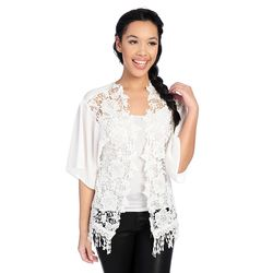 Kate & Mallory Women's Sleeved Lace Front Open Shrug - Ivory - Size: L