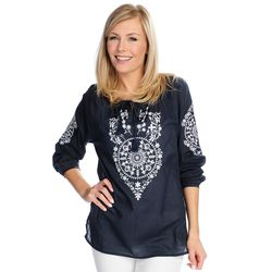 Kate & Mallory Long Sleeve Embroidered Top With Tassel Detail Navy/white Large