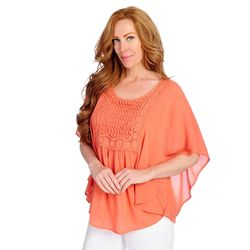 One World Women's Lace Crochet Circle Top - Orange - Size: 1x