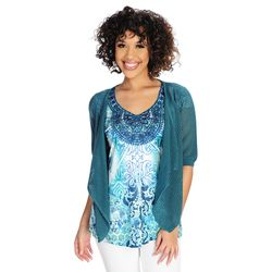 One World Micro Jersey Studded Lace Applique Neckline Top With Pointelle Shrug Dark Teal Small