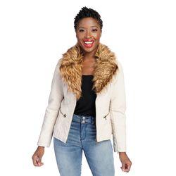 Indigo Thread Co. Faux Fur Trim Crinkle Faux Leather Jacket Stone Xs