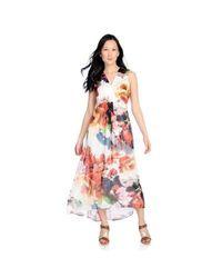 Women's Overlay Knit Lined Empire Waist Maxi Dress - White Floral -Sz: XL