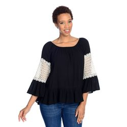 Kate & Mallory Long Slv Scoop Neck Top W/ Lace Crochet Sleeve Detail Hi Lo Hem Black/ivory Medium