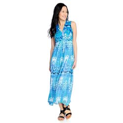 Kate Mallory Women S High Low Maxi Dress Blue Watercolor Size