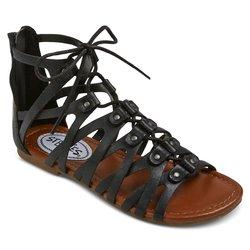 Stevies Girls' Trendy Ghillie Gladiator Sandal - Black - Size: 2