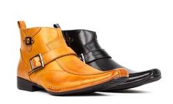 Bonafini Men's Dress Boots With Side Zipper & Buckle Strap: Tan/9.5
