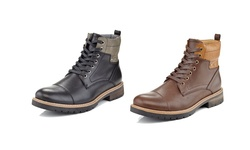 Marco Vitals Studded Lace Up Combat Chooka Casual Boots: Brown/10.5