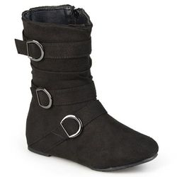 Journee Kids Girl's Buckle-Strap Suede Boots - Black - Size: 3