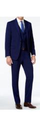 Mario Rossi Men's Slim Fit 3-Piece Suit - Blue - Size: 36S x 30W