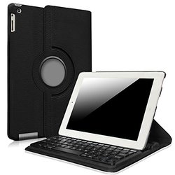 Fintie iPad 2/3/4 Keyboard Case - 360 Degree Rotating Stand Cover with Built-in Wireless Bluetooth Keyboard for Apple iPad 2, iPad 3 & iPad with Retina Display, Black
