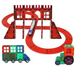 Magnetic Stick N stack 5 in 1 100 Piece Large Clear Train Tracks Set. Wooden train included (compatible with Thomas & Brio) VIEW ALL PHOTOS