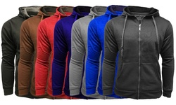 Men's Fleece Lined Zip-up Hooded Sweatshirt: Black/xxl