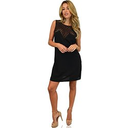 Chic Shift Dress: Lace Medallion Insert Open Back Black/xl