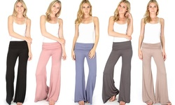 Lyss Loo Fold-over Palazzo Flare Pants: Charcoal/small