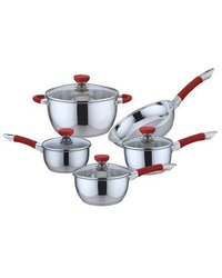 Stainless Steel Non-stick Cookware Set: Red (9-piece)