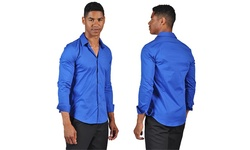 Otb  Men's Fitted Dress Shirt - Royal - Size: Medium