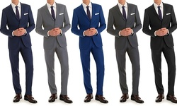 Vincent Moretti Men's Slim Fit 2 Piece Suits - Navy - Size: 38Sx32W