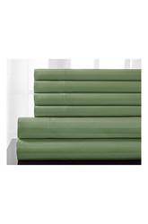 Elite Home Delray 6Pcs 600TC Stripe Sheet Set - Pear - Size: Queen