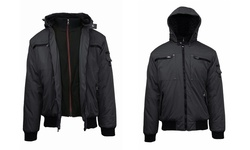 Spire by Galaxy Men's Heavyweight Jackets - Heavy Moto-Black - Size: L