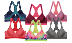 Women's Colorful Racerback Sport's Bra's (6-pack): 40d