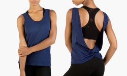 Form + Focus Twist Back Seamless Tank - Navy - Size: S/M