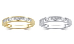 1/2 Cttw Princess Channel Wedding Band: 10k White Gold/8