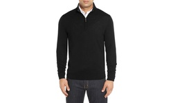 Men's Quarter-Zip Cotton Sweater - Black - Size: S