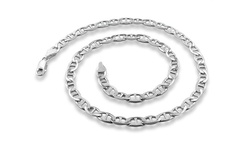 "Mens 30"" Sterling Silver Italian Heavyweight Flat Marina Chain"