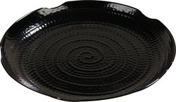 Carlisle Melamine Round Scalloped Textured Platter - Black - Case of 12