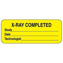 X-Ray Completed Permanent Paper Label - Yellow - Pack of 1000