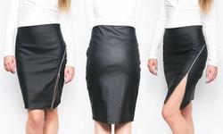 Women's Side Zip Pencil Skirt: Black - Xl