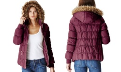 Glamsia Juniors' Puffer Jacket w/ Fur Lined Hood - Burgundy - Size: Small