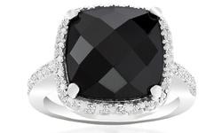 18k White Gold Genuine Diamond Gemstone Ring  - Black Onyx - Size: 6