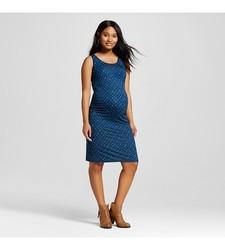 Liz Lange Women's Maternity Diamond Print Tank Dress - Dark Blue - Size: L