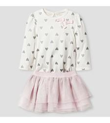 Cat & Jack Baby Heart Print Bodysuit & Tutu Set - Pink - Size: 0-3M