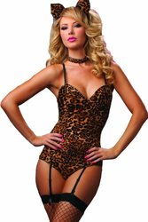 Kitty Bedroom Costume Set, Brown, One Size