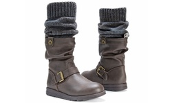 Flattering Sky Boots With Belt Wrap For Women - Brown - Size: 9