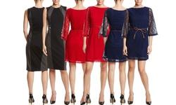 Sharagano Three Quarter Sleeve Lace Dress with Belt: Crimson- 12