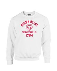 NCAA Brown Bears Mascot Block Arch Crew Neck Sweatshirt, Medium, White