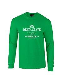 NCAA Delta State Statesmen Stacked Vintage Long Sleeve T-Shirt, Large, Irish Green
