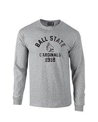 NCAA Ball State Cardinals Mascot Block Arch Long Sleeve T-Shirt, Medium, Sport Grey